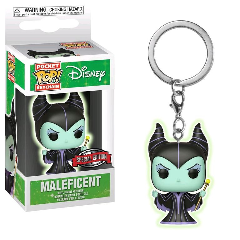 Sleeping Beauty Maleficent Glow In The Dark Pocket Pop Vinyl Keychain