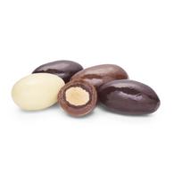Milk Chocolate, White Chocolate, Dark Chocolate dipped almonds.