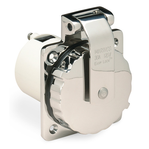 Marinco 30 Amp 125 Volt Power Inlet, Stainless Steel