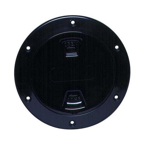 "Beckson Smooth 4"" Screw-Out Marine Deck Plate - Black/Black Lid"