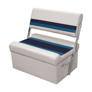 Wise Deluxe Pontoon Flip Flop Seat - White/Navy/Blue