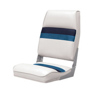 Wise Deluxe Pontoon Folding Boat Seat - White/Navy/Blue
