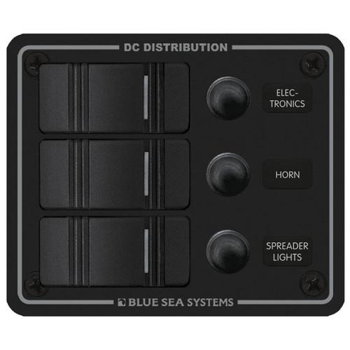Blue Sea Water Resistant Circuit Breaker Panel - 3 Position