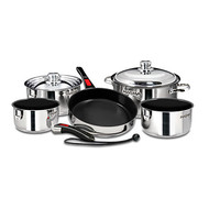 Magma 10 pc. Stainless Induction Cookware w/ Black Ceramica Non-Stick