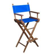 Whitecap Teak Captain's Chair w/ Blue Seat Covers