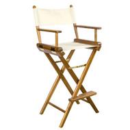 Whitecap Teak Captain's Chair w/ Natural Seat Covers