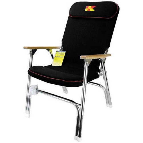 Garelick Padded Folding Boat Deck Chair Black