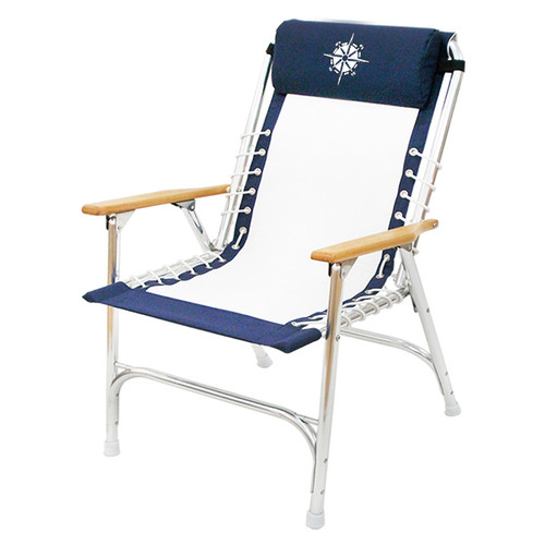 Navy/White Rope-Style Deck Chair