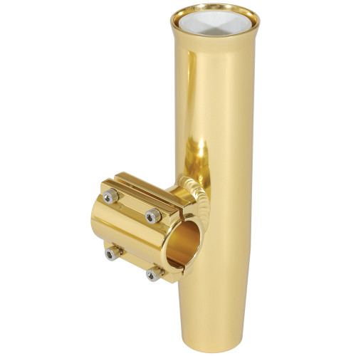 """Lee's Clamp-On Rod Holder - Gold Aluminum - Horizontal Mount - Fits 2.375"""" O.D. Pipe"""