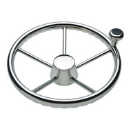 """Ongaro 170 13.5"""" Stainless 5-Spoke Destroyer Wheel w\/ Stainless Cap and FingerGrip Rim - Fits 3\/4"""" Tapered Shaft Helm"""