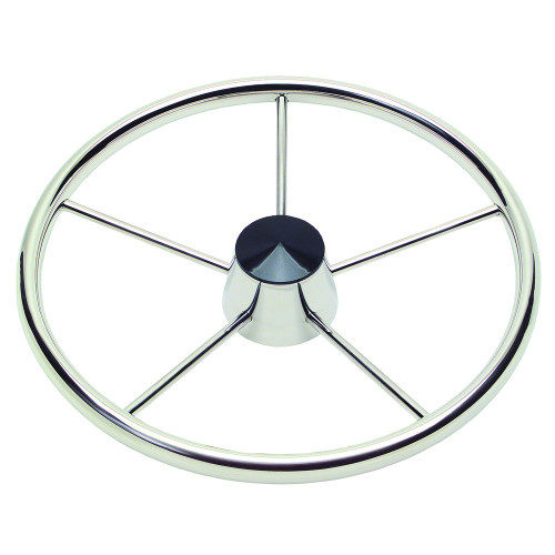 """Ongaro 170 13.5"""" Stainless 5-Spoke Destroyer Wheel w\/ Black Cap and Standard Rim - Fits 3\/4"""" Tapered Shaft Helm"""