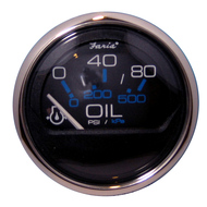 "Faria Chesapeake Black SS 2"" Oil Pressure Gauge - 80 PSI"