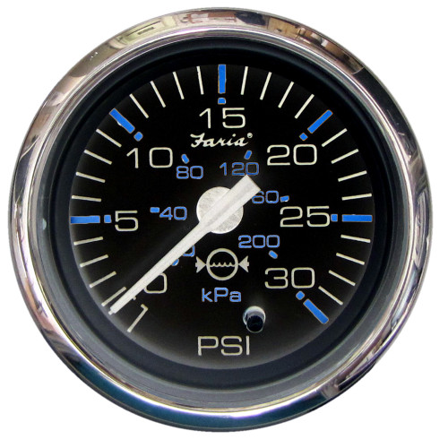 "Faria Chesapeake Black SS2"" Water Pressure Gauge Kit - 30 PSI"