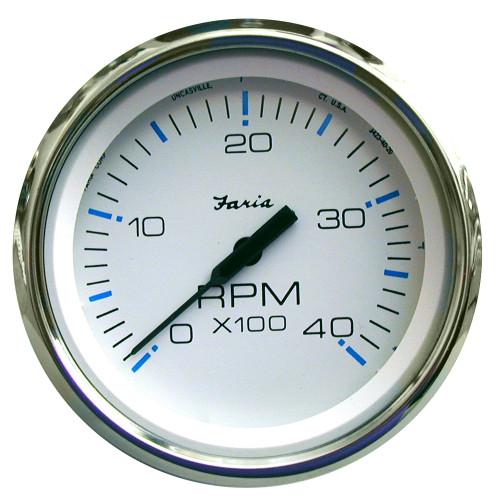 "Faria Chesapeake White SS 4"" Tachometer - 4,000 RPM (Diesel - Mechanical Takeoff & Var Ratio Alt)"