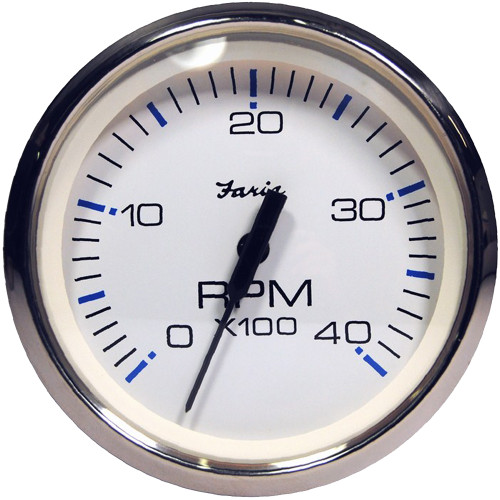 """Faria Chesapeake White SS 4"""" Tachometer - 4,000 RPM (Diesel - Magnetic Pick-Up)"""