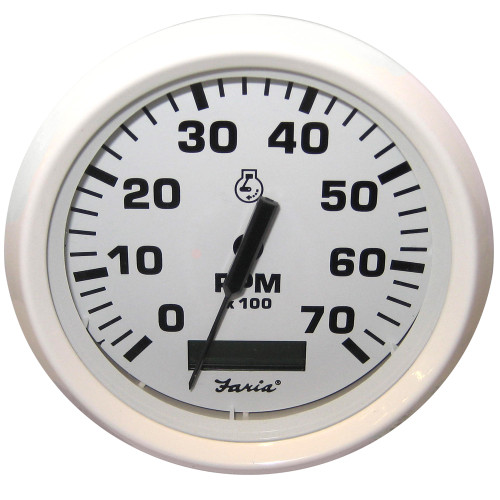 "Faria Dress White 4"" Tachometer w\/Hourmeter - 7,000 RPM (Gas - Outboard)"