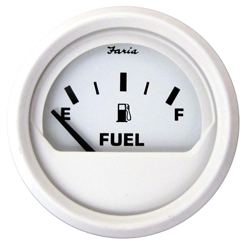"Faria Dress White 2"" Fuel Level Gauge (E-1\/2-F)"