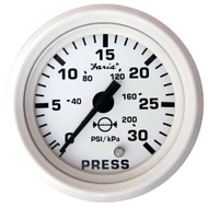 "Faria Dress White 2"" Water Pressure Gauge Kit - 30 PSI"
