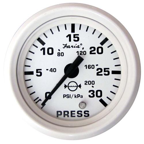 "Faria Dress White 2"" Water Pressure Gauge Kit - 30 PSI"
