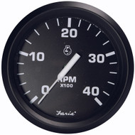 "Faria Euro Black 4"" Tachometer - 4,000 RPM (Diesel - Magnetic Pick-Up)"