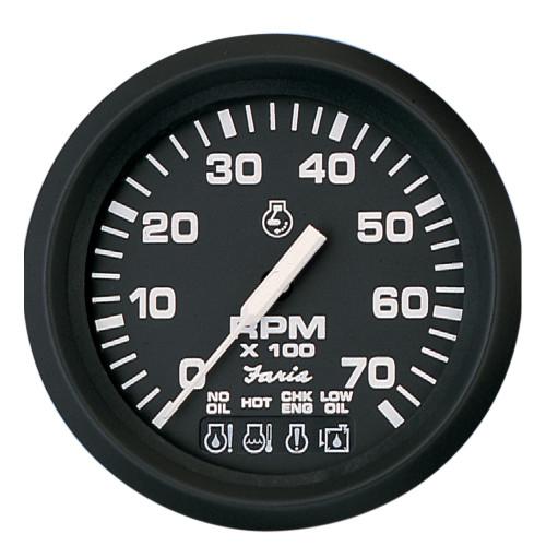 """Faria Euro Black 4"""" Tachometer w\/Systemcheck Indicator - 7,000 RPM (Gas - Johnson \/ Evinrude Outboard)"""