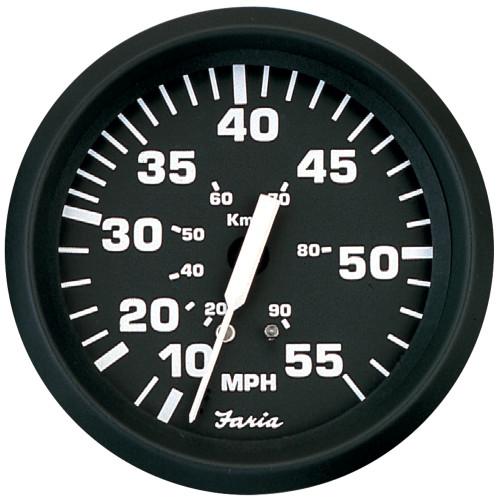 "Faria Euro Black 4"" Speedometer - 55MPH (Mechanical)"