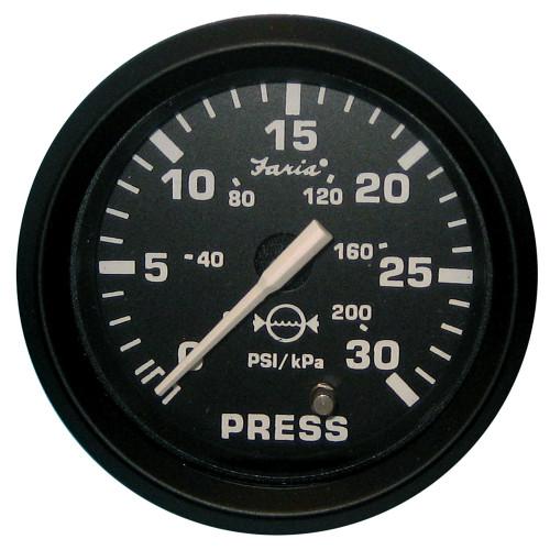 """Faria Euro Black 2"""" Water Pressure Gauge Kit - 30 PSI"""