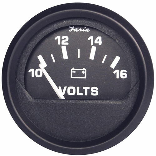 "Faria Euro Black 2"" Voltmeter (10-16 VDC)"