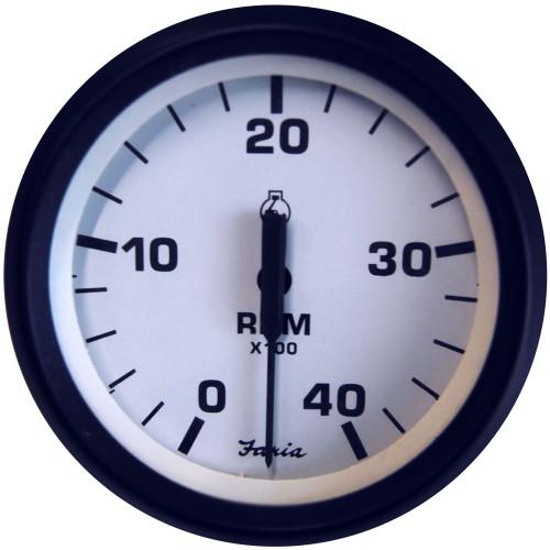 "Faria Euro White 4"" Tachometer - 4,000 RPM (Diesel - Mechanical Takeoff & Var Ratio Alt)"