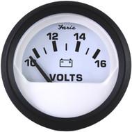 """Faria Euro White 2"""" Voltmeter (10-16 VDC)"""