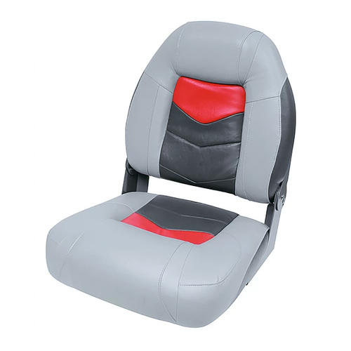 Wise Pro-Angler Premium Folding Boat Seat - Marble Grey/Regal Red/Charcoal
