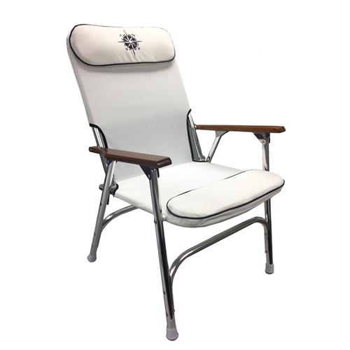 White Padded Aluminum Deck Chair - High Back