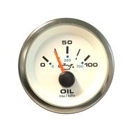 Sierra 62543P White Premier Pro Series Oil Pressure Gauge