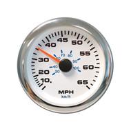 Sierra 62546P White Premier Pro Series Speedometer
