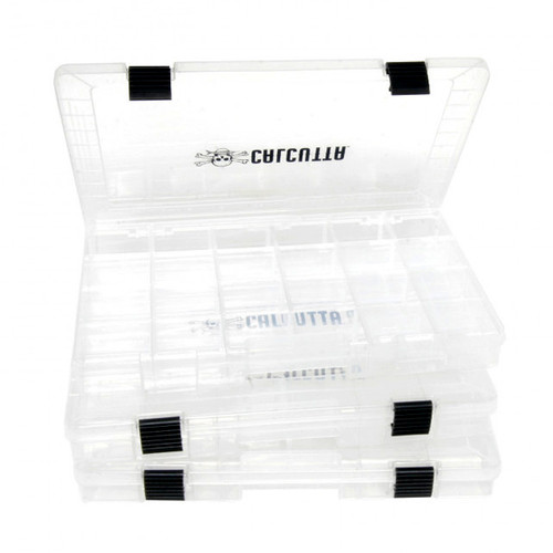 Calcutta 3700 Clear 2-Latch Tackle Tray - 3 Pack