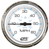 "Faria Chesepeake White SS 4"" Studded Speedometer - 60MPH (GPS)"