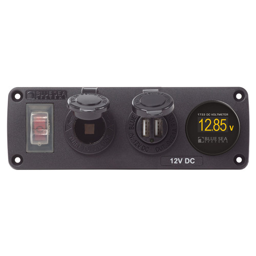 Blue Sea Dual USB Accessory Panel w/ Socket & Voltmeter