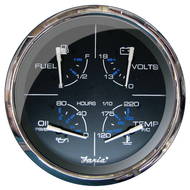 """Faria 5"""" Multifunction Gauge Chesapeake Black w\/Stainless Steel - Fuel, Oil (PSI), Water Temp  Voltmeter"""