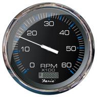 "Faria 5"" Tachometer w\/Digital Hourmeter (6000 RPM) (Gas) (Inboard) Chesapeake Black w\/Stainless Steel"