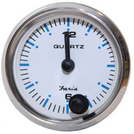 "Faria 2"" Clock Chesapeake White w\/Stainless Steel Bezel - Quartz Analog"