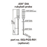 ".039"" DIA ball probe, ruby ball"