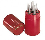 "Starrett S565WB Drive Pin Punch 8-Piece Set, 1/16""-5/16"" Pin Diameters, 4"" Overall Length, In Plastic Case"