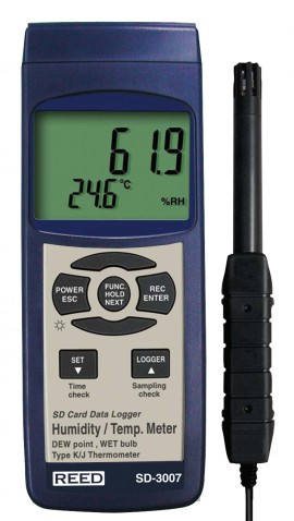 REED Instruments SD-3007-NIST THERMO-HYGROMETER W/ TYPE K THERMOCOUPLE,  DATA LOGGER W/NIST CERT