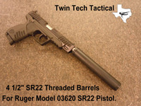 "Twin Tech Tactical threaded barrels for Ruger SR22 4 1/2"" pistol model # 03620. Suppressor for illustration and is not included."