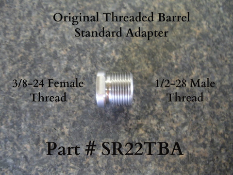 """This is a Standard 1/2""""-28TPI x .400"""" suppressor adapter that will be needed to attach standard suppressors to our long threaded barrels: Part # (SR22TB) and (SR22TB5.1) Note:  This adapter is for Twin Tech Tactical original threaded barrel, part # (SR22TB) and (SR22TB5.1) only, and will not work with Ruger threaded barrels or our slide length short style barrels: Part # (SR22TB-OEM) and (SR22TB4.65)"""