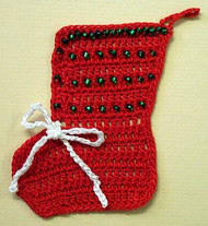 CMPATC027 - Christmas Tree Ornament - Beaded Christmas Stocking