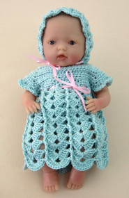 """CMPATC062PDF Shell & Post Outfit for 7.5"""" Mini La Newborn Baby Doll"""