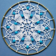 CMPATC007PDF - Crocheted Sun-catcher (White with blue beads)