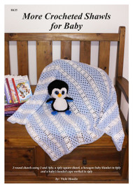 Front cover of Australian Craft Moods book, BK35 (A4) More Crocheted Shawls for Baby, by Vicki Moodie, 2 round shawls using 2 and 3ply, a 4ply square shawl, a hexagon baby blanket in 8ply and a baby's hooded carrying cape worked in 4ply