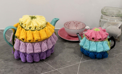 Image of Craft Moods knitting pattern by Vicki Moodie, CMPATK006, Lupin Tea Cosy (2 cup and 4 - 6 cup).